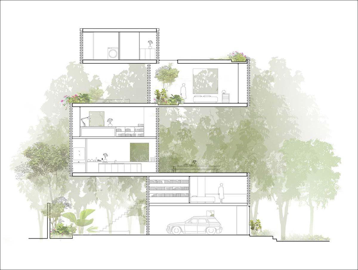 nha dep 14 Nhà phố 325m² với thiết kế hòa quyện với thiên nhiên tại Sài Gòn qpdesign